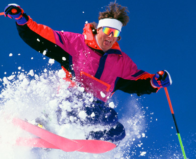 Skier in Neon Pink Jacker