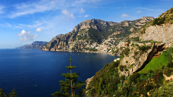 Amalfi Coast looking north across the Mediterranean