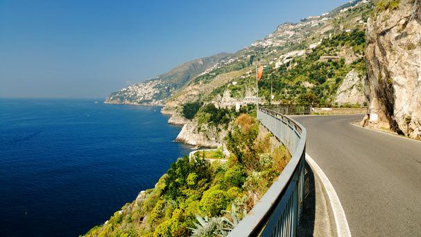 Highway on the edge of the Amalfi coast