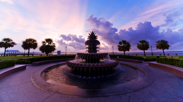 pineapple fountain in waterfront park