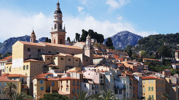 Partial view of the old village of Menton
