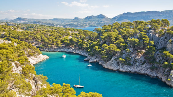 Riviera boats in Les Calanques, Cassis