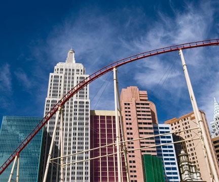 A Rollercoaster Cuts Through New York, New York