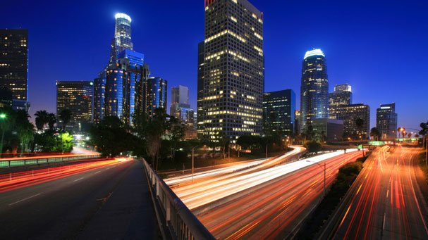 Los Angeles freeway and Downtown skyline