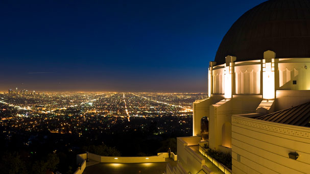 Los Angeles overlooked by the magnificent art deco domes of the Griffith Observatory
