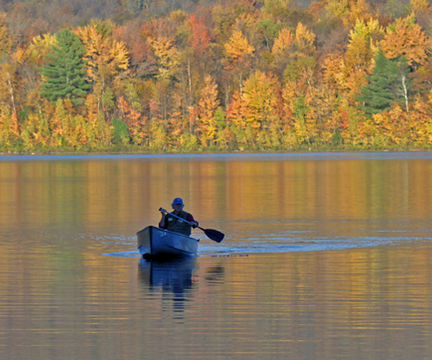 Canoeing During Fall Foliage
