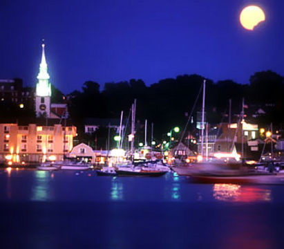 Rhode Island's Newport Harbor at Night