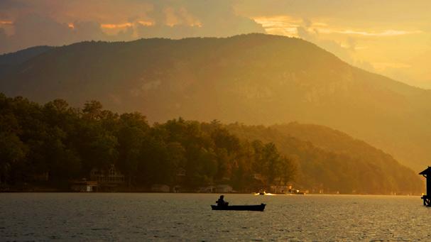 sunset on lake lure