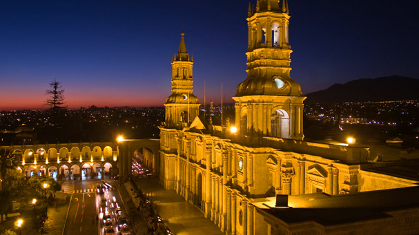 nocturnal plaza de armas and cathedral