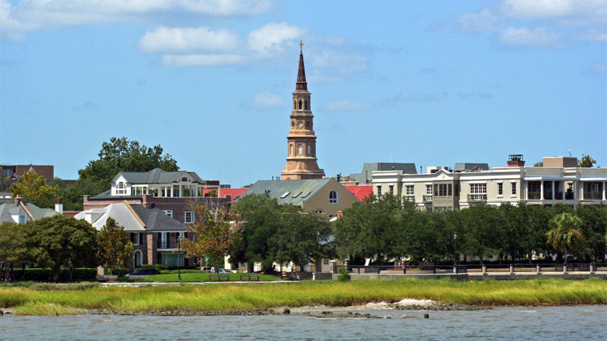 a view of charleston south carolina from the water